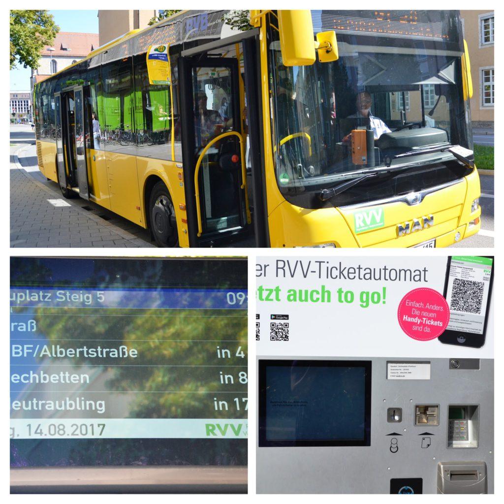 Místní autobus MHD s automatem na jízdenky a jízdním řádem na zastávce